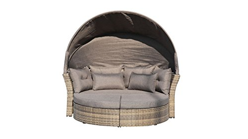 Lifestyle For Home Gartenlounge Doppelsofa Set Sonneninsel mit Dach in Polyrattan Schlamm braun